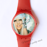 Plastic Watches Lady Gaga poker face Custom ladies plastic watch