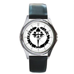 Leather Watches heart cross Unisex Silver-tone Round Metal  Watch