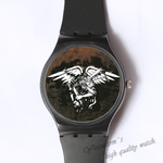 Plastic Watches black angle Custom classic  photo watch