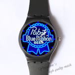 Plastic Watches blue ribbon Custom classic  photo watch