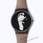 Plastic Watches foot print Custom classic  photo watch