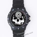 Plastic Watches skeleton head Custom Black plastic high quality watch