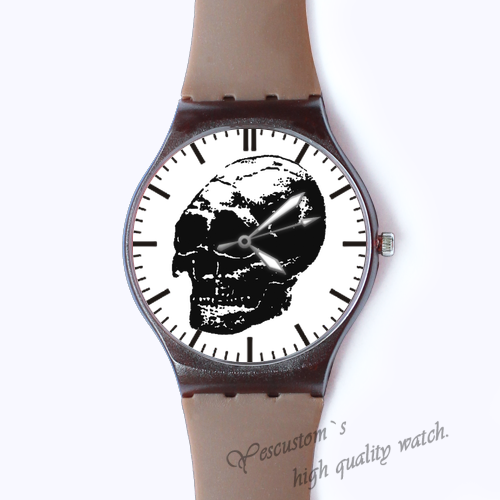 Plastic Watches skull heads Custom classic  photo watch