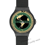 Plastic Watches world map Custom Black Plastic High Quality Watch(Round)