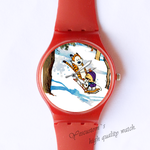 Plastic Watches tiger play on a swing Custom classic  photo watch