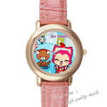 Leather Watches Ali skating Pink Leather Alloy High-grade Watch