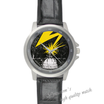 Leather Watches flash light Black Leather Alloy High-grade Watch