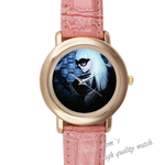 Leather Watches Lady Gaga at midnight Pink Leather Alloy High-grade Watch
