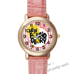 Leather Watches new day Pink Leather Alloy High-grade Watch