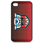Transformers Logo on Red Grid iPhone 4S Case Custom Case for iPhone 4,4S
