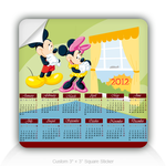 "Mickey Mouse New Year's calendar 3"" Square Sticker"