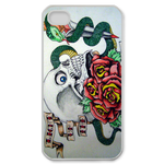 Ed Hardy-Skeleton&amp;Snake Custom iPhone 4,4S Case Custom Case for iPhone 4,4S  