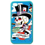 Ed Hardy-Gambling Skeleton iPhone 4,4S Case (Blue) Custom Cases for Iphone 4,4s (Blue)