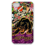 Ed Hardy Black Panther&Skulls Custom iPhone 4 Case Custom Case for iPhone 4,4S