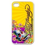 Ed Hardy Skull&Flowers Custom iPhone 4,4S Case Custom Case for iPhone 4,4S