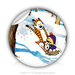 "Round Stickers tiger and kid 1.5"" In Diameter Round Sticker"