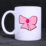 Girly Pink Bow Classic Mug Custom White Mug