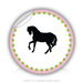 "Round Stickers black horse 3"" In Diameter Round Sticker"