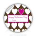 "Round Stickers Happy Valentines Day heart 1.5"" In Diameter Round Sticker"