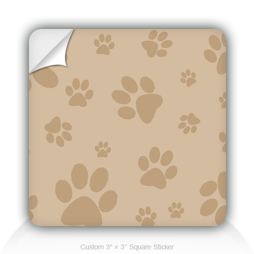 "Square Stickers Paw Design 3"" Square Sticker"