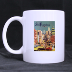Vintage Travel Poster, San Francisco classic mug Custom White Mug