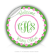 "Round Stickers welcome the new baby 3"" In Diameter Round Sticker"