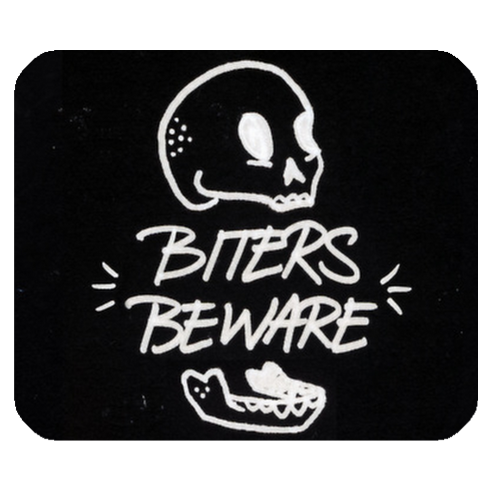 Square Mousepads Biters Beware  Rectangular Mousepad