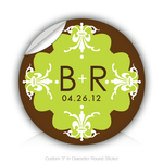 "Round Stickers 2012 Wedding 3"" In Diameter Round Sticker"