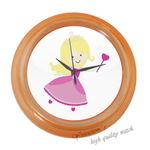 Round Clocks Little Princess  Happy Family Blue Elegant Wall Clock