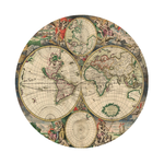 Old world map round rubber coaster Custom Round Coasters
