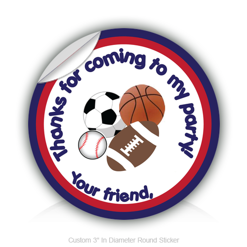 "Round Stickers Party Thanks - Ball collections 3"" In Diameter Round Sticker"