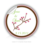 "Round Stickers Wedding Day wintersweet 3"" In Diameter Round Sticker"
