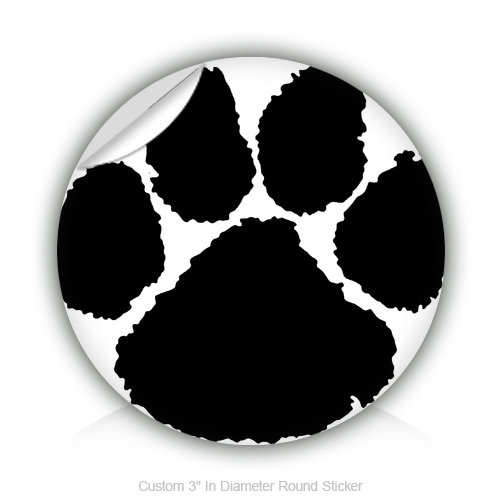 "Round Stickers Black Paw 3"" In Diameter Round Sticker"