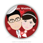 "Round Stickers Happy Wedding 3"" In Diameter Round Sticker"