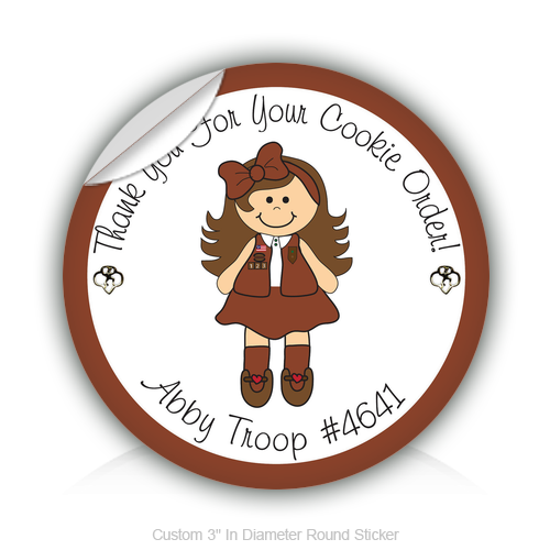 "Round Stickers Thank you for your cookie order 3"" In Diameter Round Sticker"