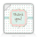 "Square Stickers Floral Thank You 3"" Square Sticker"
