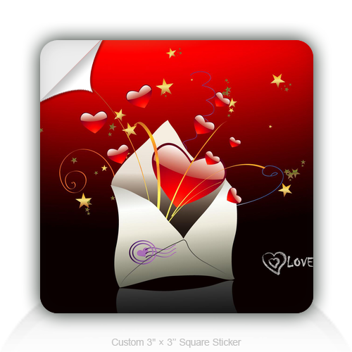 "Square Stickers Heart And Envelope 3"" Square Sticker"