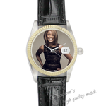 Black Leather Watch happy woman Black Leather Alloy High-grade Watch
