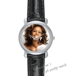 Black Leather Watch miss whitney houston Black Leather Alloy High-grade Watch