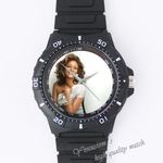 Custom black plastic watch miss whitney houston Custom Black plastic high quality watch