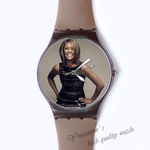 Custom black plastic watch young woman Custom classic  photo watch