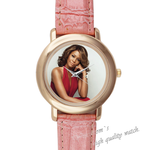 Pink Leather Watch famous star Pink Leather Alloy High-grade Watch