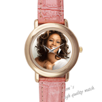 Pink Leather Watch popular star Pink Leather Alloy High-grade Watch