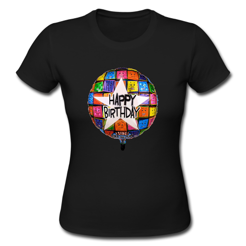 Happy Birthday Black Custom Gildan Lady T Shirt Custom