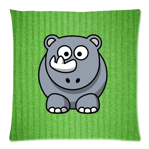 Cute Body Pillow Cases : Cute baby rhino Pillow Case Custom Zippered Pillow Case 18
