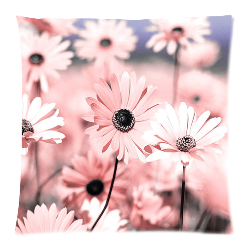 "Pink Daisy Pillow Case Custom Pillow Case 18""x18""(two side)"