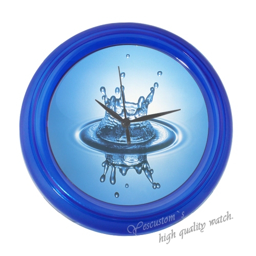 Water Drop Clock Happy Family Blue Elegant Wall Clock