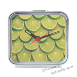 Lemon Slice Square Silver Alarm Clock Alice in WonderLand Square Silver Alarm Clock