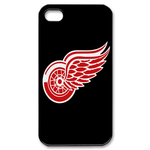 Black Detroit Red Wings iphone 4s case Custom Case for iPhone 4,4S  