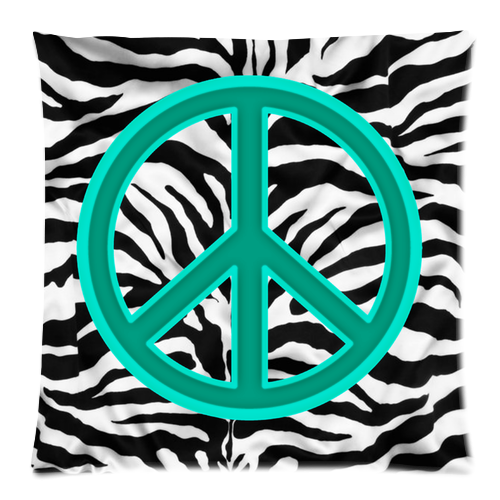 blue peace sign zebra stripe custom zippered pillow case